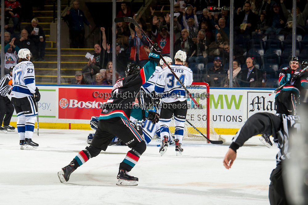 KELOWNA, CANADA - NOVEMBER 23: Lassi Thomson #2 of the Kelowna Rockets celebrates a second period goal against the Victoria Royals  on November 23, 2018 at Prospera Place in Kelowna, British Columbia, Canada.  (Photo by Marissa Baecker/Shoot the Breeze)