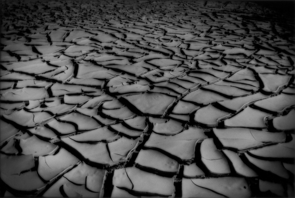 Cracked, baked earth in the Mojave Desert in California, USA.