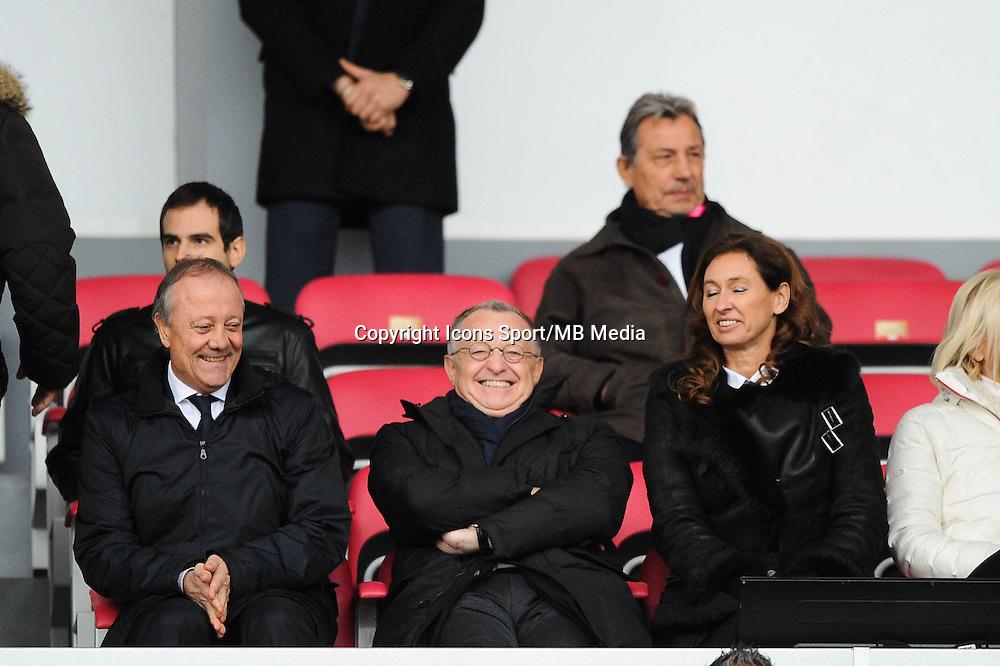 Bernard LACOMBE / Jean Michel AULAS - 07.12.2014 - Evian Thonon / Lyon - 17eme journee de Ligue 1 -<br />Photo : Jean Paul Thomas / Icon Sport