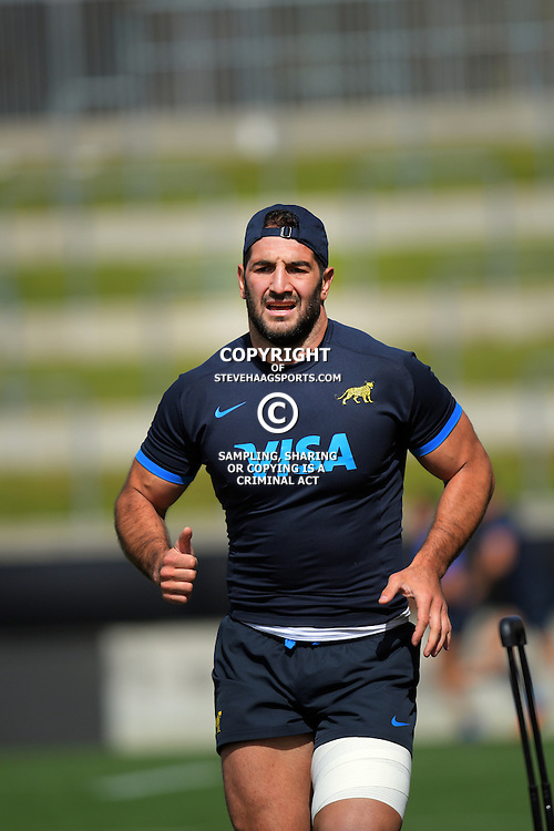 Juan Manuel Leguizamon warms up during the Argentina Pumas rugby captain's run at Waikato Stadium in Hamilton, New Zealand on Friday, 9 September 2016. Photo: Dave Lintott / lintottphoto.co.nz