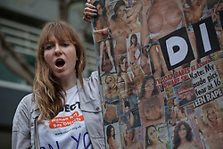 © licensed to London News Pictures. London, UK 17/11/2012. Feminist campaigners protesting The Sun newspaper's daily photos of topless female glamour models outside News International HQ in Wapping, London. Protesters from Object and Turn Your Back On Page 3 alleging Page 3 dehumanises women as sex objects. Photo credit: Tolga Akmen/LNP