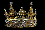Crown made from non-precious materials, possibly used at the funeral of Philippe le Hardi (Philippe II, duc de Bourgogne) in 1404 or of Jean Sans Peur (Jean de Valois or Jean I duc de Bourgogne) in 1419, or from a statue of the Virgin, originally in the Chartreuse de Champmol, in the Musee des Beaux-Arts de Dijon, opened 1787 in the Palace of the Dukes of Burgundy in Dijon, Burgundy, France. Picture by Manuel Cohen