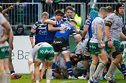 Josh Bayliss of Bath Rugby celebrates a second half try from team-mate Will Stuart - Mandatory byline: Patrick Khachfe/JMP - 07966 386802 - 09/11/2019 - RUGBY UNION - The Recreation Ground - Bath, England - Bath Rugby v Northampton Saints - Gallagher Premiership