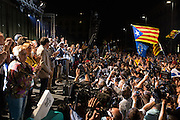 The Catalan party Together for Yes (Junts x Si) that claims for Catalonia's Independence wins the elections with majority, although the mandate is uncertain. Premier Artur Mas celebrates the results of the elections of Together for Yes party, that has won 62 seats.