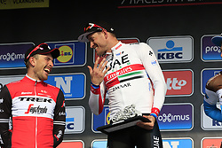 Alexander Kristoff (NOR) UAE Team Emirates wins with John Degenkolb (GER) Trek-Segafredo 2nd at the end of the 2019 Gent-Wevelgem in Flanders Fields running 252km from Deinze to Wevelgem, Belgium. 31st March 2019.<br /> Picture: Eoin Clarke | Cyclefile<br /> <br /> All photos usage must carry mandatory copyright credit (© Cyclefile | Eoin Clarke)