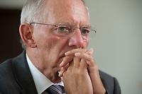 19 AUG 2010, BERLIN/GERMANY:<br /> Wolfgang Schaeuble, CDU, Bundesfinanzminister, waehrend einem Interview, in seinem Buero, Bundesministerium der Finanzen<br /> IMAGE: 20100819-01-046<br /> KEYWORDS: Wolfgang Schäuble