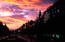 CZECH REPUBLIC PRAGUE JUL00 - Sunset on Wenceslas Square after a thunderstorm.. . jre/Photo by Jiri Rezac. . © Jiri Rezac 2000. . Tel:   +44 (0) 7050 110 417. Email: jiri@jirirezac.com. Web:   www.jirirezac.com