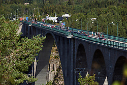 The race begins on the border between Norway and Sweden - Ladies Tour of Norway 2019 - Stage 4, a 154 km road race from Svinesund to Halden, Norway on August 25, 2019. Photo by Sean Robinson/velofocus.com
