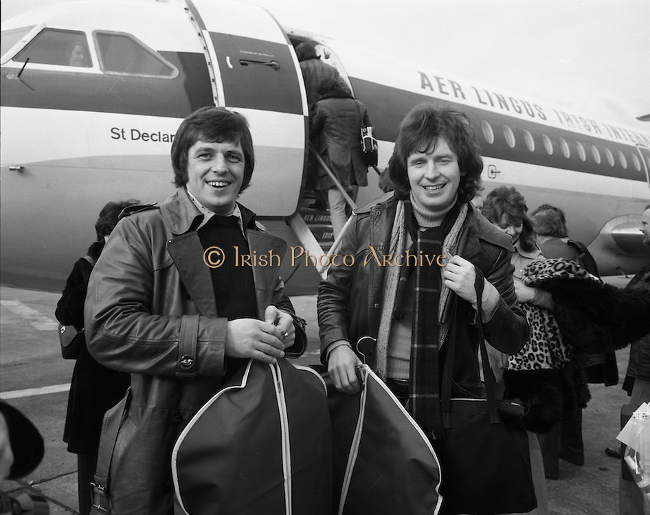 The Swarbriggs Go To Eurovision Final.<br /> 1975.<br /> 18.03.1975.<br /> 03.18.1975.<br /> 18th March 1975.<br /> Following their success in the National Song Contest, the Swarbrigg brothers, Tommy and Jimmy had the honour of representing Ireland In The Eurovision Song Contest. The contest will be staged in Stockholm, Sweden. Sweden were last years' winners with &quot;Teach In&quot; sung by &quot;Ding a Dong&quot;.<br /> <br /> Image of Jimmy (L) and Tommy Swarbrigg as they are about to board the Aer Lingus aircraft bound for Sweden.
