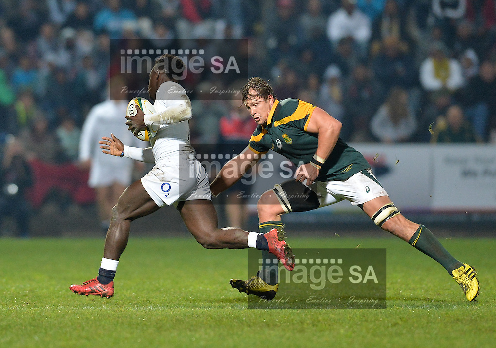 GEORGE, SOUTH AFRICA - JUNE 17: Arno Botha of South Africa tries to tackle Christian Wade of England during the match between South Africa 'A' and England Saxons at Outeniqua Park on June 17 2016 in George, South Africa. (Photo by Roger Sedres/Gallo Images)
