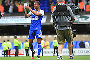 Ipswich Town midfielder Grant Ward (18) applauds the fans holding the Sky Bet Man of the Match trophy at the end of the EFL Sky Bet Championship match between Ipswich Town and Norwich City at Portman Road, Ipswich, England on 21 August 2016. Photo by Nigel Cole.