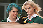 01/05/2015  repro free Niamh Moran, and Katie Jacques, St Leo's Carlow with  their robot at the Irish Robotics Championship where over 450 second level students competed for the coveted trophy supported by   EA Games. Photo:Andrew Downes: XPOSURE