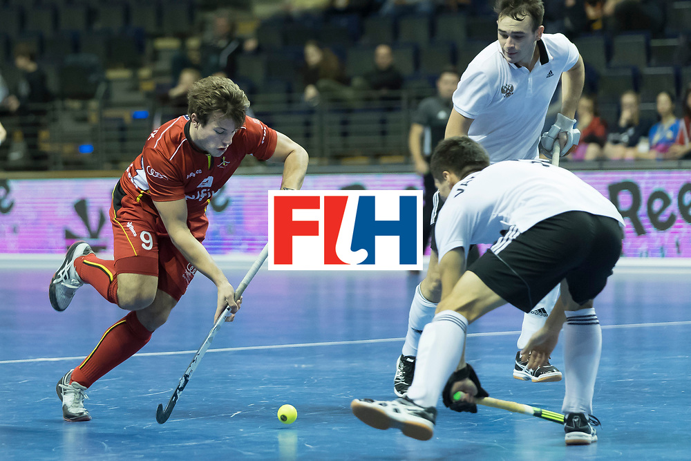 Hockey, Seizoen 2017-2018, 08-02-2018, Berlijn,  Max-Schmelling Halle, WK Zaalhockey 2018 MEN, Belgium - Russia 4-5, PLENNEVAUX Maxime (BEL). Worldsportpics copyright Willem Vernes