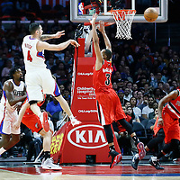 09 November 2016: Los Angeles Clippers guard J.J. Redick (4) passes the ball over Portland Trail Blazers guard C.J. McCollum (3) during the LA Clippers 111-80 victory over the Portland Trail Blazers, at the Staples Center, Los Angeles, California, USA.