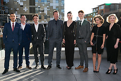 © Licensed to London News Pictures. 04/05/2016. Birmingham, UK. Peaky Blinders cast members and guests attending a special premiere at the Mailbox in Birmingham, for series three. Pictured, the Peaky Blinders cast, from left, Jordan Bolger, Pack Lee, Cillian Murphy, Steven Knight (writer/Creator), Gaite Jansen, Harry Kirton, (unknown), Kate Phillips. Photo credit: Dave Warren/LNP