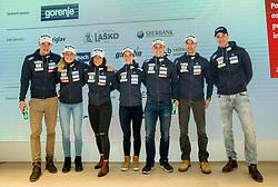 Cross country Ski Team: Janez Lampic, Anamarija Lampic, Eva Urevc, Alenka Cebasek, Miha Simenc, Nejc Brodar and Ola Vigen Hattestad during press conference of Slovenian Nordic Ski teams, on January 8, 2018 in Triglav Lab, Ljubljana, Slovenia. Photo by Vid Ponikvar / Sportida