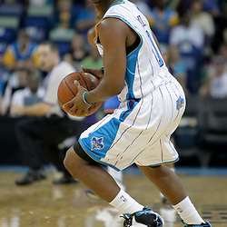 Oct 10, 2009; New Orleans, LA, USA; New Orleans Hornets guard Chris Paul (3) after recording a steal against the Oklahoma City Thunder in the second quarter at the New Orleans Arena. Mandatory Credit: Derick E. Hingle-US PRESSWIRE