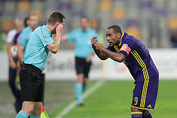 Marcos Morales Tavares #9 of NK Maribor and linesman during 2nd Leg football match between NK Maribor (SLO) and Gabala FK (AZE) in Playoff of UEFA Europa League 2016/17, on August 25, 2016, in Sports park Ljudski vrt, Slovenia. Photo by Morgan Kristan / Sportida