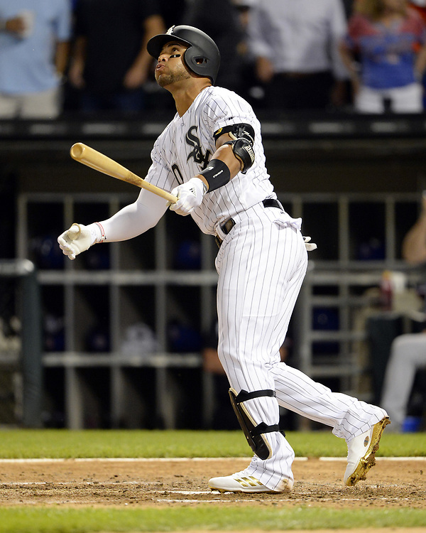 CHICAGO - JULY 27:  Yoan Moncada #10 of the Chicago White Sox bats against the Chicago Cubs on July 27, 2017 at Guaranteed Rate Field in Chicago, Illinois.  (Photo by Ron Vesely) Subject:   Yoan Moncada