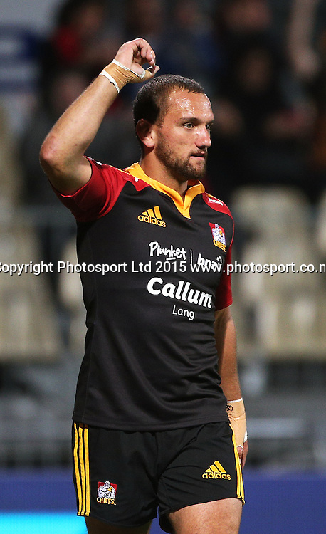 Aaron Cruden walks off the feild injured celebrating a Chiefs try during the Investec Super Rugby game between the Crusaders v Chiefs at AMI Stadium i Christchurch. 17 April 2015 Photo: Joseph Johnson/www.photosport.co.nz
