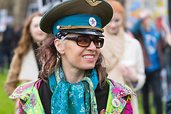 London, February 27th 2016. A woman in an adapted Russian officer's cap during CND's march and rally opposing the UK's Trident nuclear weapons programme. <br /> &copy;Paul Davey<br /> FOR LICENCING CONTACT: Paul Davey +44 (0) 7966 016 296 paul@pauldaveycreative.co.uk