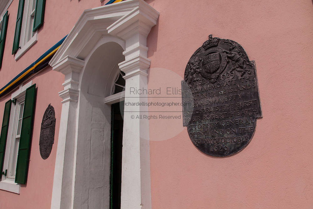 Plaque marking a government building in Parliament Square in Nassau , Bahamas.