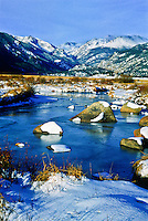 Big Thompson River flowing through Moraine Park in winter. Rocky Mountain National Park, Colorado