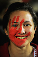 A face-painted Crusaders fan. Super 15 rugby union match - Crusaders v Chiefs at McLean Park, Napier, New Zealand on Saturday, 21 May 2011. Photo: Dave Lintott / photosport.co.nz