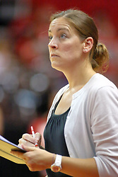 30 August 2011: Coach Melissa Myers during an NCAA volleyball match between the Cougars of Southern Illinois Edwardsville and the Illinois State Redbirds at Redbird Arena in Normal Illinois.