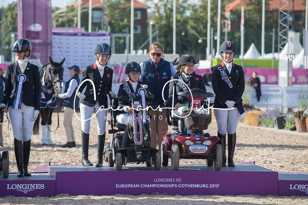 Team Great Britain, Wells Sophie, Frances Orford Erin, Hext Suzanna, Payne Julie<br /> FEI European Para Dressage Championships - Goteborg 2017 <br /> © Hippo Foto - Dirk Caremans<br /> 22/08/2017,