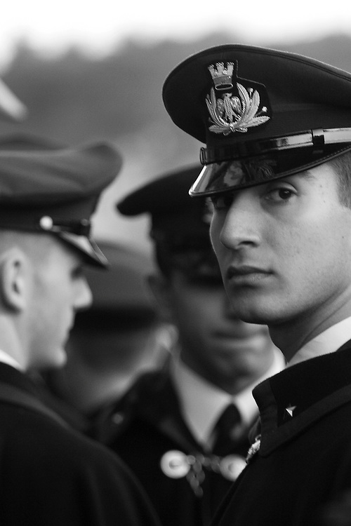 Black and white photography of italian soldier in Florence Italy.