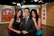 Univision morning show Vive la Mañana hosts Adriana Chalhoon, Arnaldo Rojas and Lizzet López.