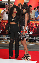 Red 2 UK film premiere.<br /> Irene and Elsa Major during the premiere of the sequel to 2010's graphic novel adaption, about a group of retired assassins. <br /> Empire Leicester Square<br /> London, United Kingdom<br /> Monday, 22nd July 2013<br /> Picture by i-Images