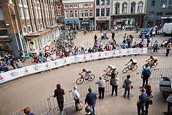 Aafke Soet (NED) leads the break through the town centre at Healthy Ageing Tour 2018 - Stage 5, a 94.3 km road race in Groningen on April 8, 2018. Photo by Sean Robinson/Velofocus.com