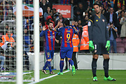 LIONEL MESSI of FC Barcelona celebrates with Luis Suarez after scoring his side's third goal during the Spanish championship Liga football match between FC Barcelona and Sevilla FC on April 5, 2017 at Camp Nou stadium in Barcelona, Spain. <br /> Photo Manuel Blondeau / AOP Press / ProSportsImages / DPPI