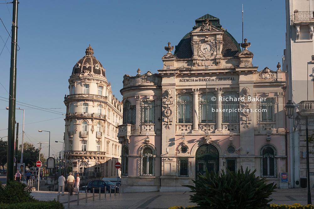 Astoria Hotel and Banco De Portugal in Largo da Portagem  in at Coimbra, Portugal.