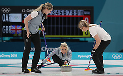 Great Britain's Anna Sloan during the Women's Round Robin Session 1 match against Olympic Athletes from Russia at the Gangneung Curling Centre on day five of the PyeongChang 2018 Winter Olympic Games in South Korea.
