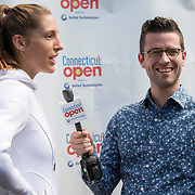 August 16, 2014, New Haven, CT:<br /> Andrea Petkovic is interviewed by host Nick McCarvel during WTA All-Access Hour on day three of the 2014 Connecticut Open at the Yale University Tennis Center in New Haven, Connecticut Sunday, August 17, 2014.<br /> (Photo by Billie Weiss/Connecticut Open)