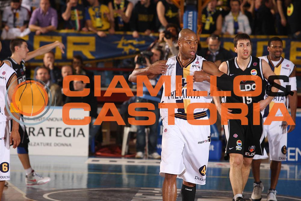 DESCRIZIONE : Porto San Giorgio Lega A1 2008-09 Premiata Montegranaro Eldo Caserta<br /> GIOCATORE : Brandon Hunter<br /> SQUADRA : Premiata Montegranaro<br /> EVENTO : Campionato Lega A1 2008-2009<br /> GARA : Premiata Montegranaro Eldo Caserta<br /> DATA : 20/12/2008<br /> CATEGORIA : esultanza <br /> SPORT : Pallacanestro<br /> AUTORE : Agenzia Ciamillo-Castoria/G.Ciamillo
