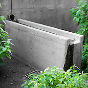 Stormwater outlet and runnel detail of stormwater facilities, The Cyan, Portland, Oregon.
