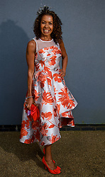 LIVERPOOL, ENGLAND - Thursday, April 6, 2017: Monique Collier, 51 from Aigburth, wearing a dress from Coast and shoes from Kurt Geiger, during The Opening Day on Day One of the Aintree Grand National Festival 2017 at Aintree Racecourse. (Pic by David Rawcliffe/Propaganda)