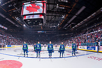 REGINA, SK - MAY 23: Swift Current Broncos' starting line up  at the Brandt Centre on May 23, 2018 in Regina, Canada. (Photo by Marissa Baecker/CHL Images)