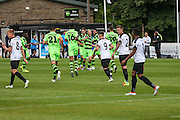 Forest Green players celebrate Forest Green Rovers Liam Noble (15) goal, 0-1 during the Vanarama National League match between Dover Athletic and Forest Green Rovers at Crabble Athletic Ground, Dover, United Kingdom on 10 September 2016. Photo by Shane Healey.