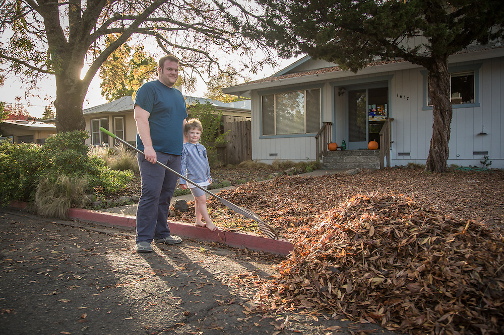 "Euro Spa owner John T. Kennedy with his four year old son, Jacob, in front of this house on Harley Street in Calistoga.  ""...what do I want in life...I'm doing it...I love being an entrepenure!"""