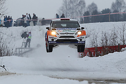 06.02.2014, Torsby, Hagfors, SWE, FIA, WRC, Schweden Rallye, Tag 2, im Bild Michael Solowow/Maciej Baran (M-Sport World Rallye Team/Fiesta RS WRC), Action / Aktion, Jump, Sprung // during the FIA WRC Sweden Rally at the Torsby in Hagfors, Sweden on 2014/02/07. EXPA Pictures © 2014, PhotoCredit: EXPA/ Eibner-Pressefoto/ Bermel<br /> <br /> *****ATTENTION - OUT of GER*****