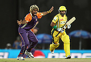 Ruhuna Royals captain Lasith Malinga appeals successfully for LBW to get Imran Farhat of Uthura Rudras wicket during match 6 of the Sri Lankan Premier League between Ruhuna and Uthura held at the Premadasa Stadium in Colombo, Sri Lanka on the 14th August 2012<br />  <br /> Photo by Shaun Roy/SPORTZPICS/SLPL