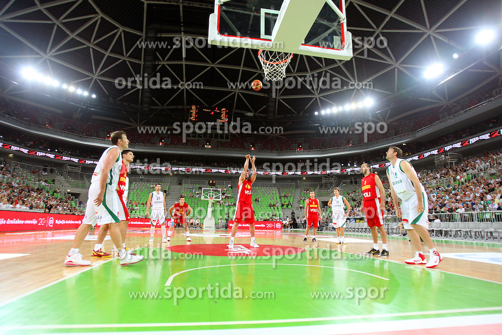 Shot at friendly match between Slovenia and Montenegro for Adecco Cup 2011 as part of exhibition games before European Championship Lithuania on August 7, 2011, in SRC Stozice, Ljubljana, Slovenia. (Photo by Urban Urbanc / Sportida)