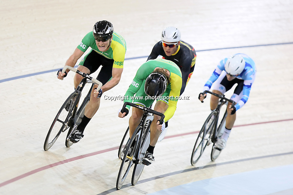 MSC Dyland Kennet, left, and Shane Archbold out front in the ME 15k Scratch Race final at the BikeNZ Elite & U19 Track National Championships, Avantidrome, Home of Cycling, Cambridge, New Zealand, Friday, March 14, 2014.  Photo: Dianne Manson / photosport.co.nz