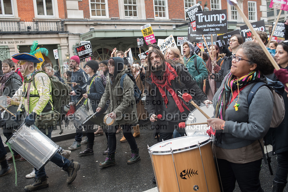 London protest against the US Muslim travel Ban. Outside the american Embassy and March to Downing St. 4 February 2017