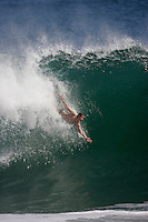 20 June 2006:  A body surfer expands his arms while riding a 10' wave during a South swell reaches the famous surf spot in Newport Beach, CA called The Wedge.  Surfers, boogie boarders, body surfers and crowds gather to watch the powerful waves and the waters take shape into unique sets along the jetty in Orange County, California.